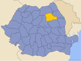 Administrative map of Romania with Neamţ county highlighted