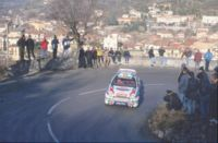 Carlos Sainz driving a Toyota Corolla WRC on the Monte Carlo Rally
