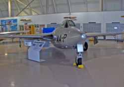 de Havilland Vampire built under license for the Swiss Air Force in 1969 as an FB-6 painted as a F 3 in RCAF service (Canadian Warplane Heritage Museum).