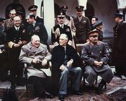 Winston Churchill, Franklin D. Roosevelt, and Joseph Stalin at Yalta in 1945.