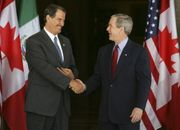 President Fox and American President Bush in the signature of the SPP