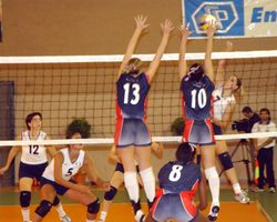 A U.S. vs. Italy women's volleyball match at the 3rd Military World Games.