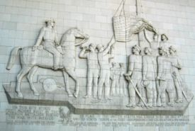The Terra Cotta relief on the current Fort Moore Pioneer Memorial