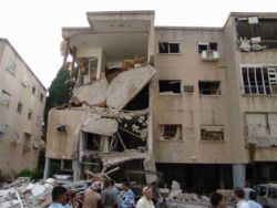 A Haifa street following rocket attack 17 July 2006