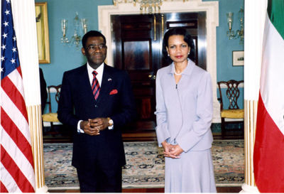 US Secretary Condoleezza Rice with His Excellency Teodoro Obiang Nguema Mbasogo in 2006.