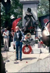 Waldheim Cemetery, Chicago in May 1986 during ceremonies commemorating the 100th anniversary of the Haymarket riot