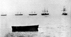 Part of the fleet of Enomoto Takeaki off Shinagawa. From right to left: Kaiten, Kaiyō, Kanrin, Chōgei, Mikaho. The Banryō and Chiyodagata are absent. 1868 photograph.