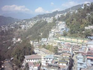 Aerial view of Gangtok from a cable car
