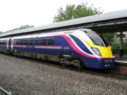 A First Great Western Class 180 Adelante train stops at Bath Spa on its way to London Paddington