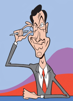 Caricature of Stephen Colbert, by cartoonist Greg Williams.
