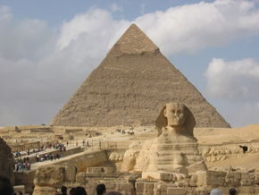 The Sphinx against Khufu's pyramid