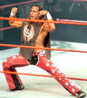 Shawn Michaels performing his trademark pose on RAW.