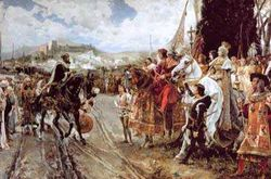 The Capitulation of Granada by F. Padilla: Boabdil confronts Ferdinand and Isabella