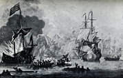Battle between the British frigate HMS Mary Rose and seven Algerine pirates, 1669.