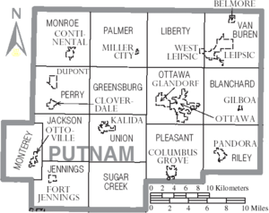 Map of Putnam County, Ohio With Municipal and Township Labels