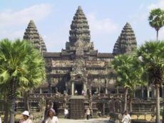 The Angkor Wat Hindu temple in Cambodia, with the entrance facing west, is the largest temple in the world (early 12th century).