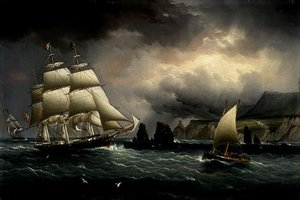 "The Clipper Ship ""Flying Cloud"" off the Needles, Isle of Wight, by James E. Buttersworth, 1859-60."
