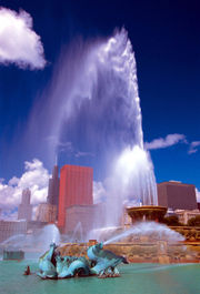 Buckingham Fountain sends a massive stream of water into the air during one of its shows.