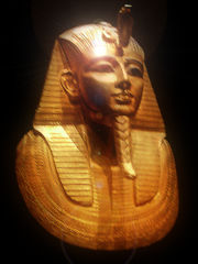 Gold burial mask of King Psusennes I, discovered 1940 by Pierre Montet.