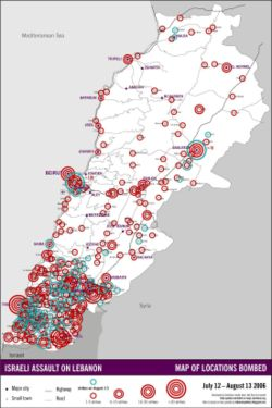 Areas in Lebanon targeted by Israeli bombing, 12 July to 13 August 2006.