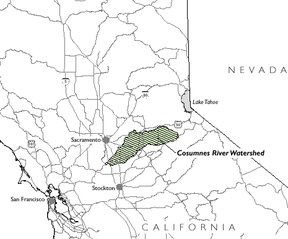 Location of the Cosumnes River Watershed