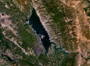 Satellite photo of Lake Berryessa