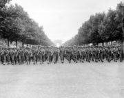American troops march down the Champs Elysées in Paris.