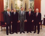 President Bush posing with four previous Presidents during his term