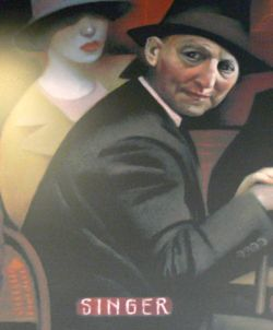 Isaac Bashevis Singer, as it appears from a much larger mural painting in Flagstaff, Arizona.