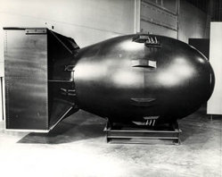 "The first nuclear weapons were gravity bombs, such as the ""Fat Man"" weapon dropped on Nagasaki, Japan. These weapons were very large and could only be delivered by a bomber aircraft."
