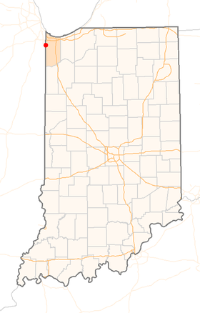 Location of Town of Dyer, Indiana