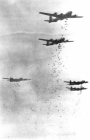 U.S. Air force attacked Japan by using massive incendiary bombs against Japanese cities during the war with hundreds of planes flying at low altitudes.