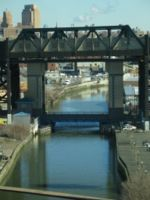 The bridge for the New York City Subway over the Gowanus Canal.
