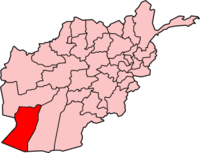 Map of Afghanistan with Nimruz نیمروز highlighted.