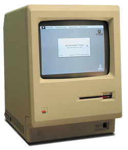 "The first Macintosh computer, introduced in 1984, upgraded to a 512K ""Fat Mac""."