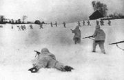 Soviet Siberian soldiers fighting during the Battle of Moscow.