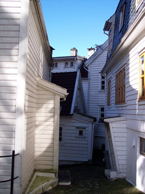 White wooden houses in Bergen