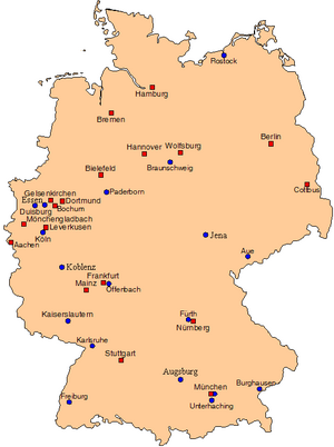 Map showing geographical positions of Bundesliga clubs