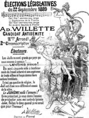 "1889 French elections poster for self-described anti-Semitic candidate"" Adolphe-Léon Willette: ""The Jews are a different race, hostile to ours... Judaism is the enemy!"""