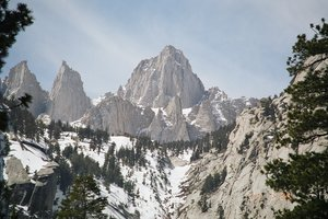 East Face of Mt. Whitney as seen from the way up on Whitney Portal.