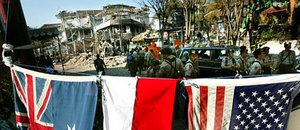 National flags at Kuta explosion site (October 17, 2002)