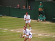Woodbridge (back) with partner Jonas Björkman in the mens double final, Wimbledon 2004.