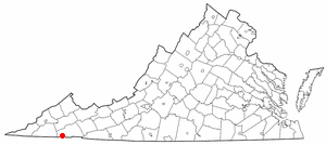 Location of Bristol, Virginia