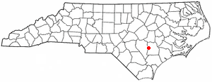 Location of Warsaw, North Carolina