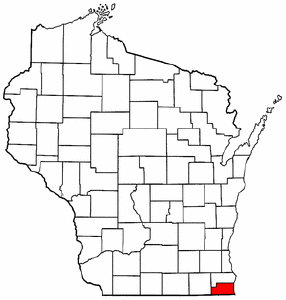 Image:Map of Wisconsin highlighting Kenosha County.png