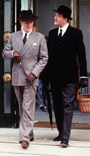 Hugh Laurie (left) and Stephen Fry portray Bertie Wooster and his valet, Jeeves