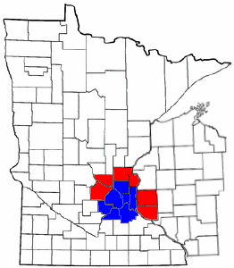 Twin Cities metro area map