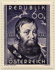 Andreas Hofer on an Austrian stamp.