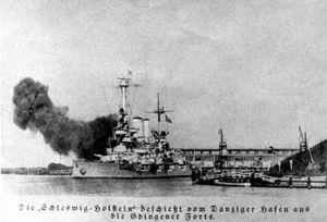German battleship Schleswig-Holstein stationed at Danzig harbor is shelling nearby Polish positions at Gdynia.