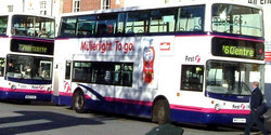 Livery of First Group vehicles shown on a bus in Bristol